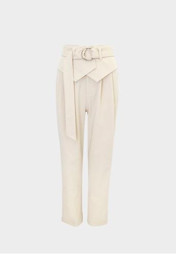 Pomelo beige O-Ring High Waist Pants - Cream 8A6CBAA07C6752GS_1