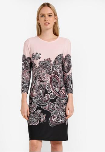 Wallis black and pink Black Paisley Print Tunic Dress WA800AA0RM76MY_1