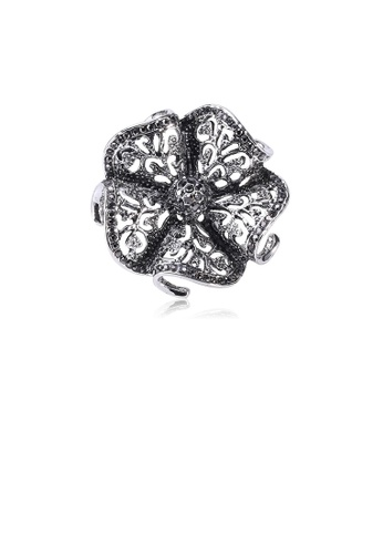 Glamorousky black Fashion and Elegant Hollow Flower Brooch with Black Cubic Zirconia ED880ACEE72455GS_1