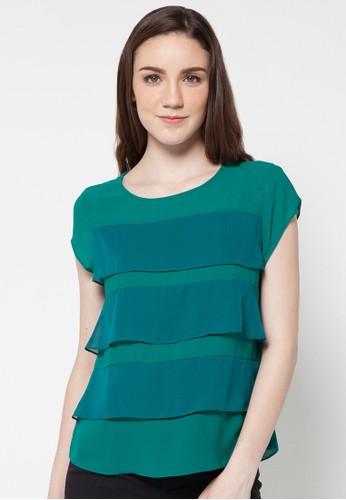 Raspberry green Rasena Short Sleeve Blouse RA572AA71EVOID_1