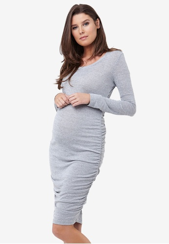 Ripe Maternity grey Maternity Textured Knit Cocoon Dress 92E9CAAAE389F9GS_1