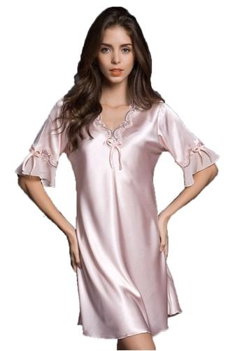c362010adb SMROCCO pink Silk Plus Size Nightie Dress L8000-Pink D02A8AA31D0CA6GS 1