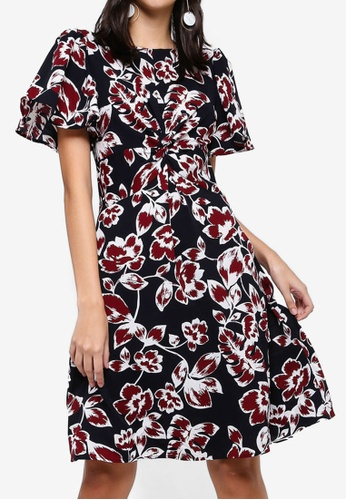 ZALORA multi and navy Twisted Fit And Flare Dress 4C30BAA08181BCGS_1