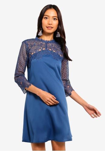 Little Mistress blue Denim Crochet Shift Dress 8FF9AAAEE6153DGS_1