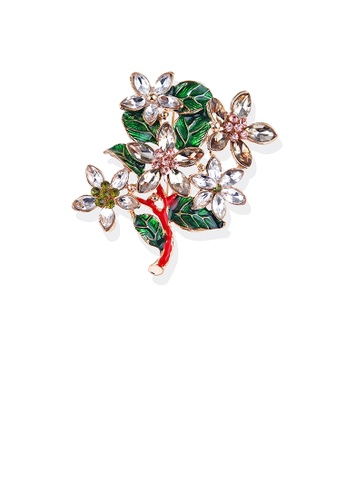 Glamorousky white Fashion and Elegant Plated Gold Tree Flower Brooch with Cubic Zirconia 6BD32AC0B7486BGS_1