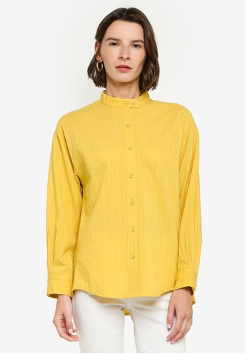 ZALIA BASICS yellow Mandarin Collar Shirt C8DAFAADAAE3ACGS_1