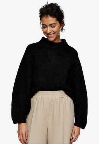 TOPSHOP black Black Super Soft Dolman Sleeve Knitted Jumper 07D6FAA3B7C063GS_1
