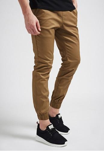 俐落街頭。彈力棉質。esprit 衣服白標綁帶縮口長褲-02338-卡其, 服飾, 直筒褲
