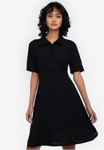 ZALORA BASICS black Pleated Detail Dress 3405AAABD9BA24GS_1