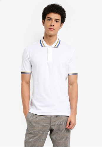 MANGO Man 白色 短袖條紋滾邊POLO衫 589DAAA046A840GS_1