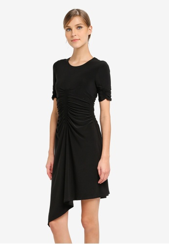 TOPSHOP black PETITE Ruch Front Midi Dress TO412AA0SLCTMY_1