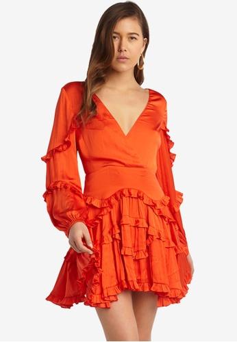 Bardot orange Nala Frill Dress 3DFEBAA36F5E6EGS_1