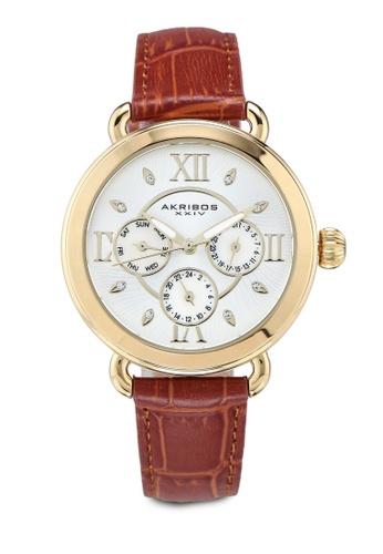 Akribos XXIV brown Date Swarovski Watch 16FE1AC45AF1E7GS_1