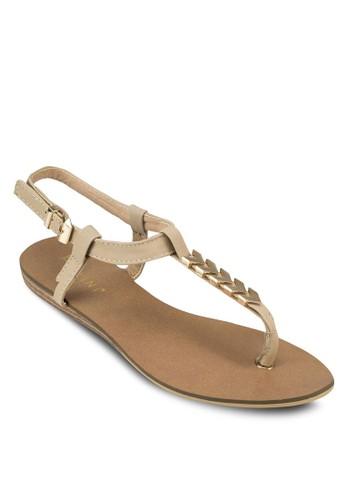 Imogen 金飾夾腳繞踝平底涼鞋, zalora taiwan 時尚購物網鞋子女鞋, 涼鞋