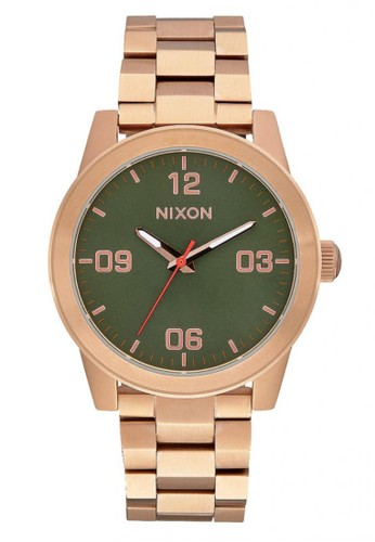 NIXON G.I. SS Rosegold / Green Jam Tangan Pria A9192283 - Stainless Steel - Rosegold
