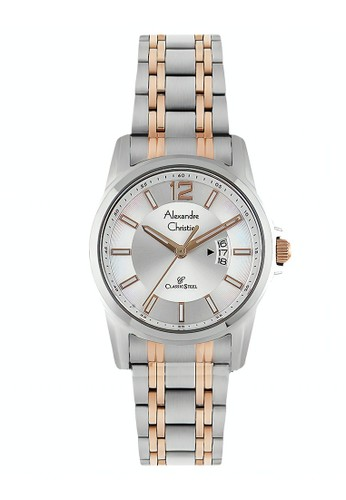 Alexandre Christie gold and silver Alexandre Christie Jam Tangan Pria - Silver Rosegold - Stainless Steel