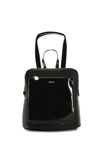 SEMBONIA black SEMBONIA Synthetic Leather Backpack (Black) SE598AC0S851MY_1