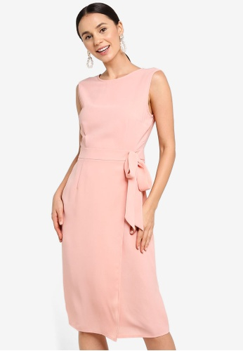ZALORA pink V-Back Overlap Dress 5FA79AA1260735GS_1