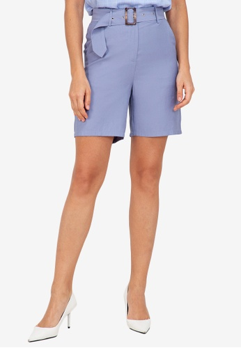 ZALORA WORK blue Belted Shorts 90C96AA5122C91GS_1