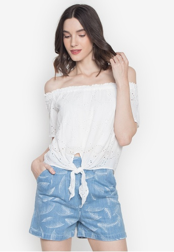 Pois white Off-Shoulder Tie Croped Top with Shorts 37BDBAA5C299C1GS_1