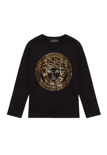 Versace black and gold VERSACE TEENS LONG SLEEVE T-SHIRT EEE62KA6E18F3AGS_1