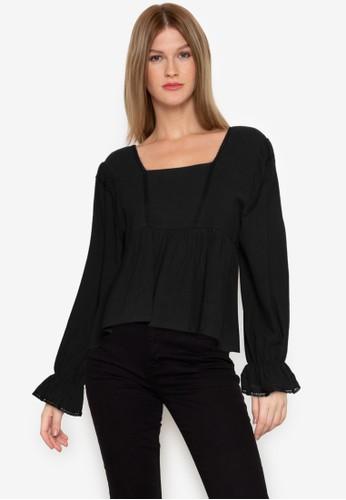 ZALORA BASICS black Long Sleeve Babydoll Top 28C38AA60ED636GS_1