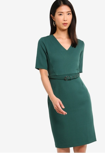 ZALORA BASICS green Basic Tailored Belted Dress 8BCFBAA50E8BE6GS_1
