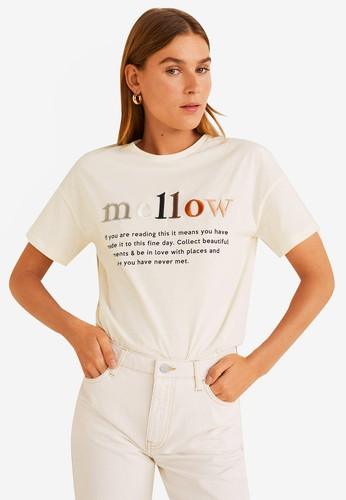 Mango white Message Cotton T-Shirt 00F7AAA2F29175GS_1