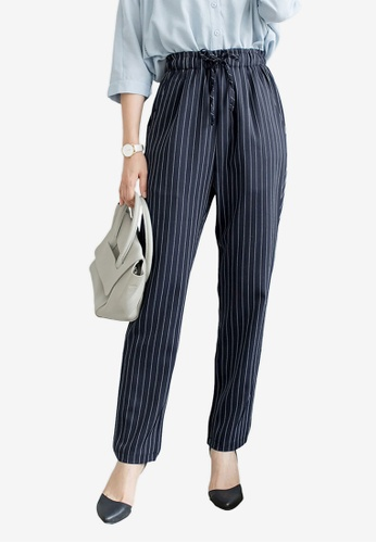 Tokichoi navy Striped Drawstring Pants 9FD4DAA071F69BGS_1