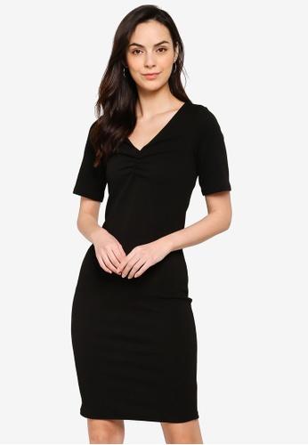 Dorothy Perkins black Ruched V Neck Bodycon Dress CF9A4AA0D762DFGS_1