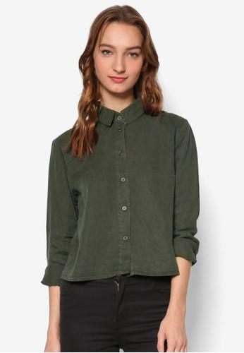 簡約短版長袖襯衫, 服飾, zalora taiwan 時尚購物網上衣