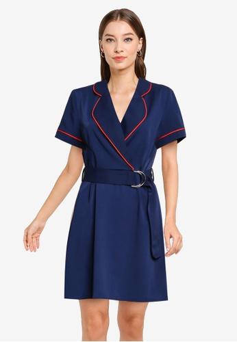 ZALORA WORK navy Contrast Piping Dress 975D2AA1BB0979GS_1