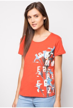 Round Neck G-Tee with Photographic Embossed Print