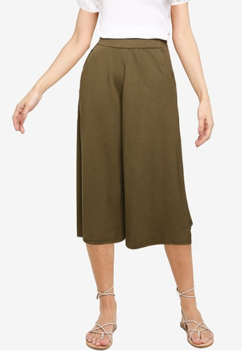 UniqTee green Cropped Wide Leg Pants 9A14BAA0438E7EGS_1