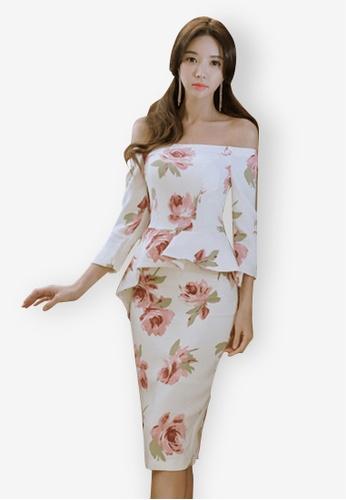 Sunnydaysweety multi 2018 New Floral Peplum Off Shoulder One Piece Dress 482D3AA16F873FGS_1