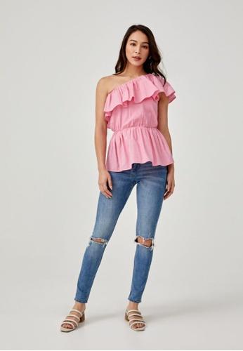 Love, Bonito pink Caecilia Ruffle Toga Blouse 2B2E6AA8070089GS_1