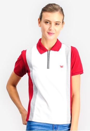 BENCH red Color Block Polo Tee with Emblem A4C37AA3F053A8GS_1