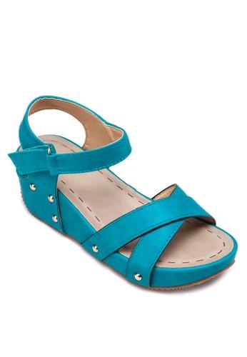 交叉帶扣環楔型跟涼鞋, 女鞋,esprit台灣 楔形涼鞋