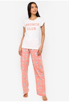 South Beach white and pink Brunch Club Slogan Tee   Pajamas Pants  AD1A2AA33FA5AEGS 1 99d384adc