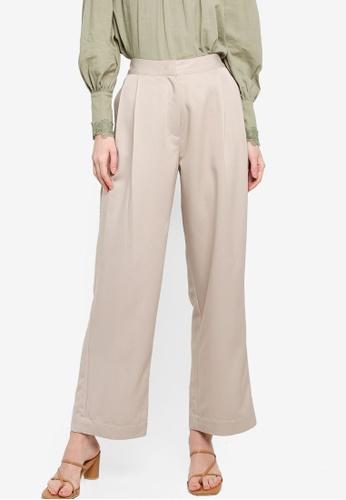 Zalia beige Pleated Straight Leg Pants 89E3CAA688208EGS_1