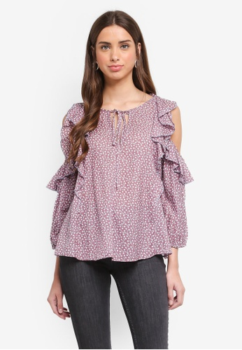 French Connection multi Elao Voile Cold Shoulder Top 80D56AA202EDC8GS_1