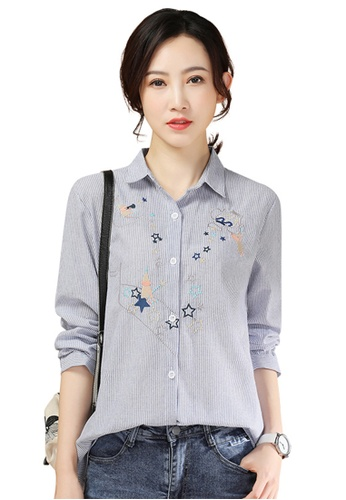 A-IN GIRLS white and blue Loose Striped Embroidered Shirt 433E9AA62A26FAGS_1