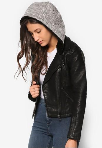 Magesprit 童裝gie 連帽仿皮夾克, 服飾, 夾克 & 大衣