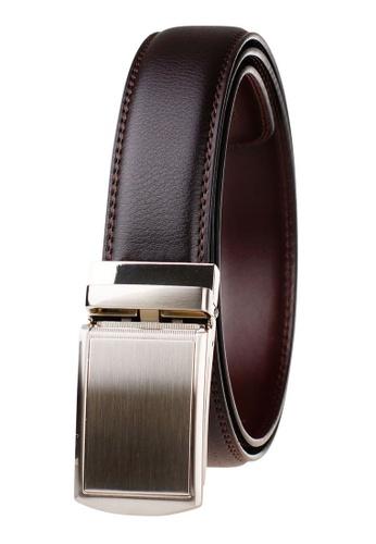 FANYU orange Leather Dress Belt With Automatic Buckle CFCE3AC331F576GS_1