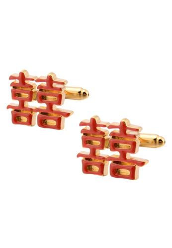 Kings Collection red Chinese Traditional Red Wedding Word Cufflinks (KC10034a) FBCA9AC5B88C09GS_1