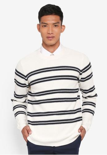 Selected Homme 白色 條紋針織衫 2E39EAA59F1C3BGS_1