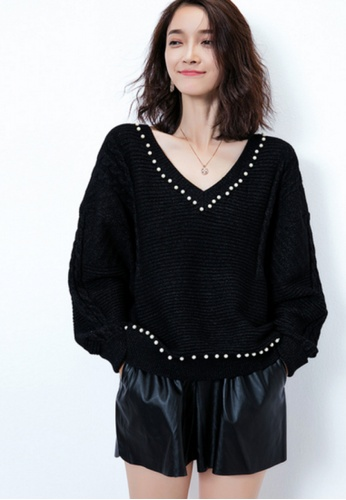 Sunnydaysweety black New Pearl Decorated Knitted Top CA093002BK 11181AAC7957E3GS_1