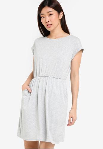 Dorothy Perkins grey Grey Marl T-Shirt Dress DO816AA61PPMMY_1