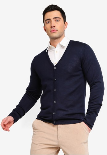 Selected Homme navy Thom Merino Cardigan BEF20AA8E3D338GS_1