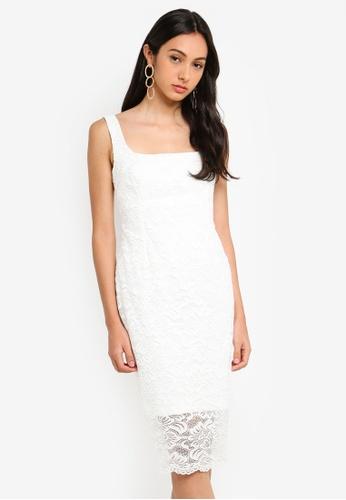Vesper white Lace Scoop Neck Midi Dress FEF40AA8C0C11CGS_1